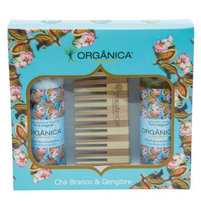 Chá Branco & Gengibre Orgânica - Kit Loção Hidratante 100ml + Sabonete Líquido 100ml + Pente - Kit