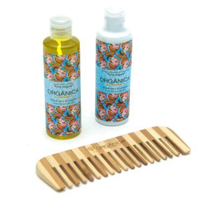 Imagem 6 do produto Chá Branco & Gengibre Orgânica - Kit Loção Hidratante 100ml + Sabonete Líquido 100ml + Pente - Kit