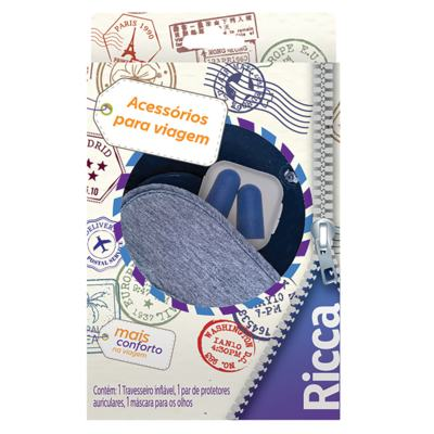 Imagem 1 do produto Ricca Acessórios para Viagem Kit - Travesseiro + Máscara + Protetores Auriculares - Kit