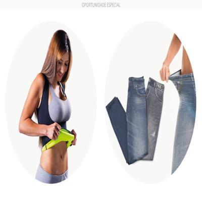 Imagem 2 do produto Fitnow T-Shirt Polishop - Feminino + Calça Modeladora Lejeans - 2 Unidades (1 Vintage + 1 Azul) - | G