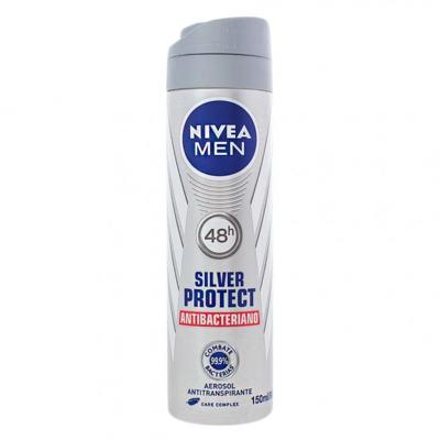 Desodorante Nivea Aerosol Silver Protect Antibacteriano Men 150ml