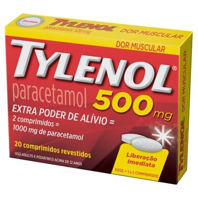 Imagem 1 do produto TYLENOL 500MG 20 COMPRIMIDOS