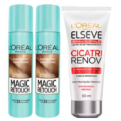 Imagem 1 do produto L'Oréal Paris Magic Retouch + Ganhe Cicatri Renov Kit - Leave-In + 2 Corretivos Capilar Louro Escuro - Kit