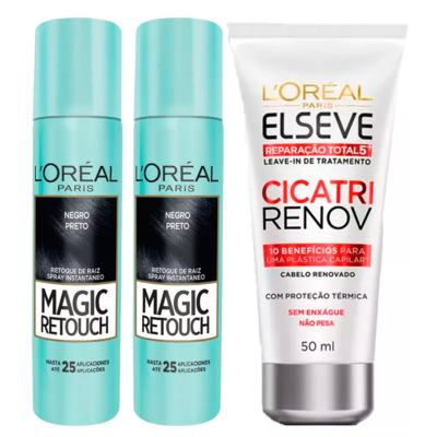 Imagem 1 do produto L'Oréal Paris Magic Retouch + Ganhe Cicatri Renov Kit - Leave-In + 2 Corretivos Capilar Preto - Kit