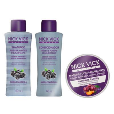 Imagem 2 do produto Nick & Vick Raízes e Pontas Equilibradas Viagem Kit - Shampoo + Condicionador + Máscara - Kit