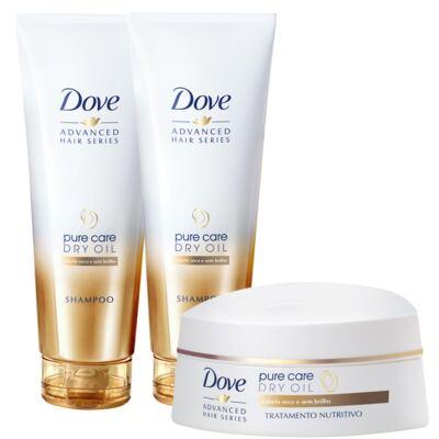 Imagem 1 do produto Kit Dove Pure Care Oil Shampoo 200ml 2 Unidades Grátis Creme de Tratamento 350g
