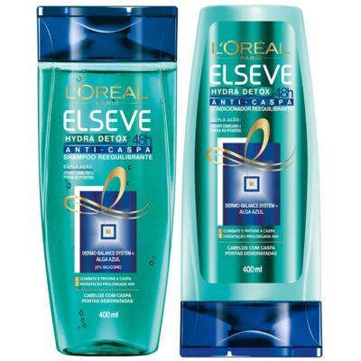 Imagem 1 do produto Kit Elseve Hydra Detox 48h Anti-Caspa Shampoo + Condicionador 400ml