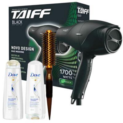 Imagem 1 do produto Kit Secador Taiff Black 1700W 110V + Escova Térmica Marco Boni + Kit Dove Reconstrução Completa