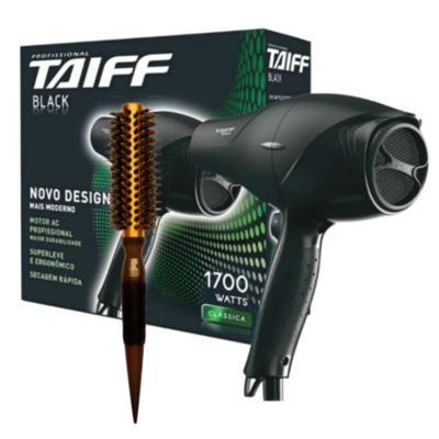 Imagem 1 do produto Kit Secador Taiff Black 1700W 110V + Escova Térmica de Cabelo Marco Boni Profissional