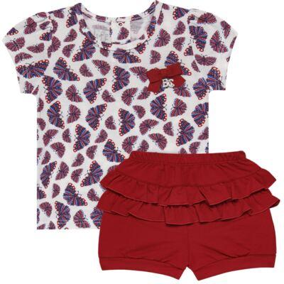 Imagem 1 do produto Blusinha c/ Shorts frufru para bebe em viscolycra Butterflies - Baby Classic - 21001628 BLUSINHA M/C COM SHORTS VISCOLYCRA BUTTERFLY-GG