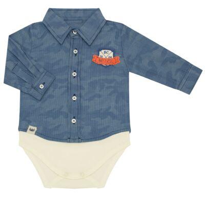 Imagem 1 do produto Body Camisa para bebe em tricoline Camouflage - Baby Classic - 092953 CAMISA BODY TRICOLINE LONDON -P