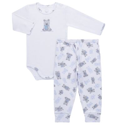 Imagem 1 do produto Body longo c/ Calça para bebe em algodão Ursinho - Dedeka - DDK17647/E176 CONJUNTO DE BODY RIBANA URSINHO-M