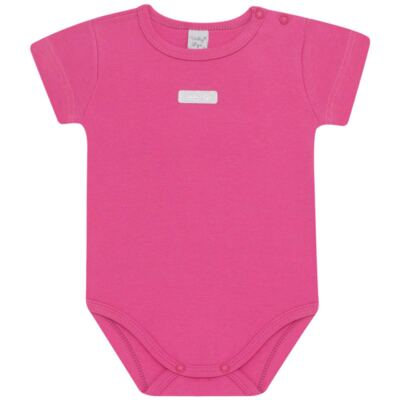 Imagem 1 do produto Body curto para bebe básico em suedine Pink - Vicky Lipe - BC238 BODY MC SUEDINE PINK-RN