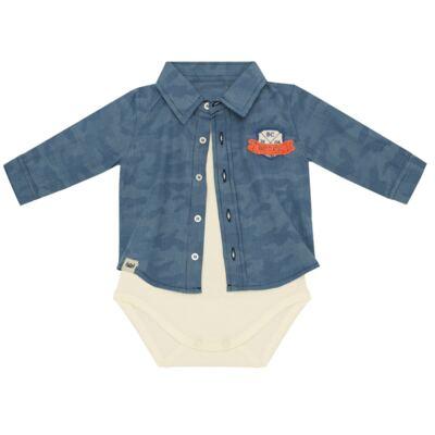 Imagem 3 do produto Body Camisa para bebe em tricoline Camouflage - Baby Classic - 092953 CAMISA BODY TRICOLINE LONDON -M