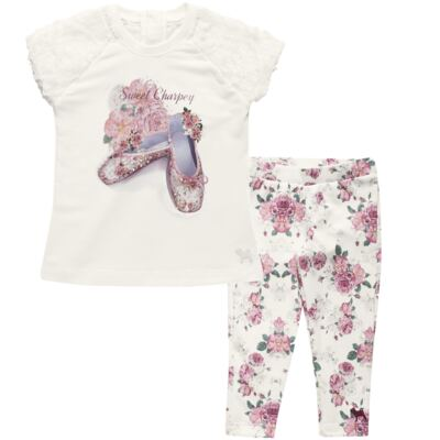 Imagem 1 do produto Blusa com Legging para bebe em cotton Ballerina Camelli - Charpey - CY14729.138 CONJ. BLUSA C/ LEGGING OFF WHITE -G