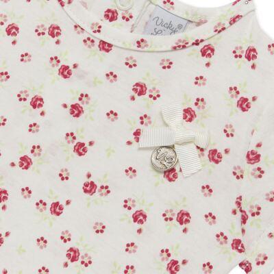 Imagem 3 do produto Bata com Legging para bebe em cotton Flowery Bear - Vicky Lipe - 8341360 CONJ. BATA COM LEGGING COTTON URSA FLORAL-3