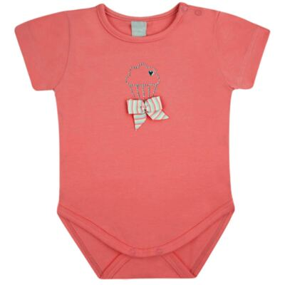Body curto para bebe em cotton Strawberry - Vicky Lipe - 89845 BODY MC FEMININO COTTON COELHA-P