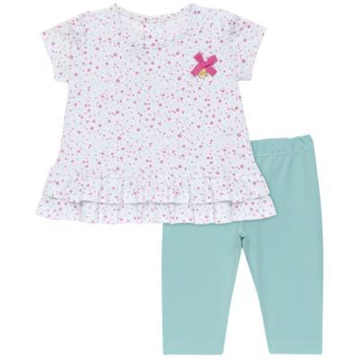 Imagem 1 do produto Bata com Legging para bebe em cotton Aqua Flower - Vicky Lipe - 8341363 CONJ. BATA COM LEGGING COTTON ELEFANTINHO 2-GG