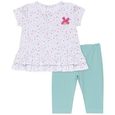 Imagem 1 do produto Bata com Legging para bebe em cotton Aqua Flower - Vicky Lipe - 8341363 CONJ. BATA COM LEGGING COTTON ELEFANTINHO 2-M