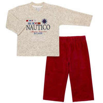 Imagem 1 do produto Blusão com Calça para bebe em plush Náutico - Baby Classic - 875832.219 CONJ. BLUSA C/ CALÇA PLUSH MESCLA-1
