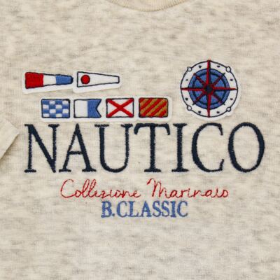 Imagem 3 do produto Blusão com Calça para bebe em plush Náutico - Baby Classic - 875832.219 CONJ. BLUSA C/ CALÇA PLUSH MESCLA-1