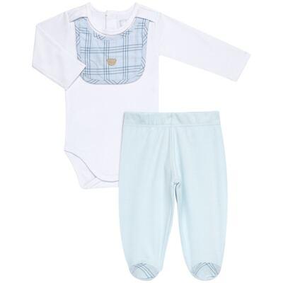 Imagem 1 do produto Body c/ Babador e Mijão em suedine Le Petit Azul Baby Classic - 18010001.03 CONJUNTO BODY C/ BABADOR E MIJÃO-SUEDINE-G