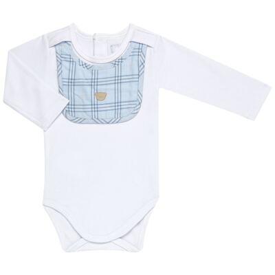 Imagem 2 do produto Body c/ Babador e Mijão em suedine Le Petit Azul Baby Classic - 18010001.03 CONJUNTO BODY C/ BABADOR E MIJÃO-SUEDINE-G