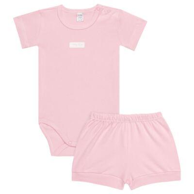 Imagem 1 do produto Body curto com Shorts para bebe em suedine Rosa - Vicky Lipe - CSH1376 CONJ. BODY M/C C/ SHORTS SUEDINE ROSA BB-3