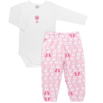 Imagem 1 do produto Body longo com Calça (mijão) para bebe em suedine Little Cute - Vicky Lipe - CEL1362 CJ. BODY ML C MIJÃO SUEDINE ELEFANTINHO-G