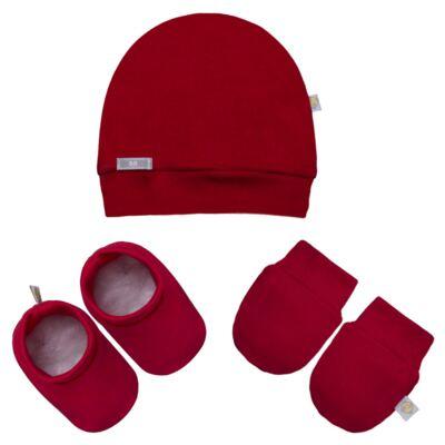Imagem 1 do produto Kit c/ Touca, Luva e Sapatinho para bebe em malha Vermelho - Beth Bebê - BB0177-C Kit Sapatinho, Touca e Luva Vermelho