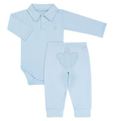 Imagem 1 do produto Body longo com Calça (mijão) em suedine Azul Matelassê - Grow Up - 01020218.0003 CONJ. PG BEAR FRIEND AZUL-G