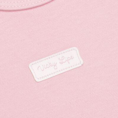 Imagem 3 do produto Body curto com Shorts para bebe em suedine Rosa - Vicky Lipe - CSH1376 CONJ. BODY M/C C/ SHORTS SUEDINE ROSA BB-1