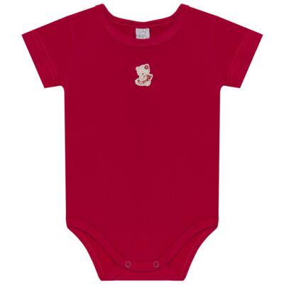 Imagem 2 do produto Body curto com Shorts para bebe em suedine Flowery Bear - Vicky Lipe - CSH1360 BODY M/C C/ SHORTS SUEDINE URSA FLORAL-M
