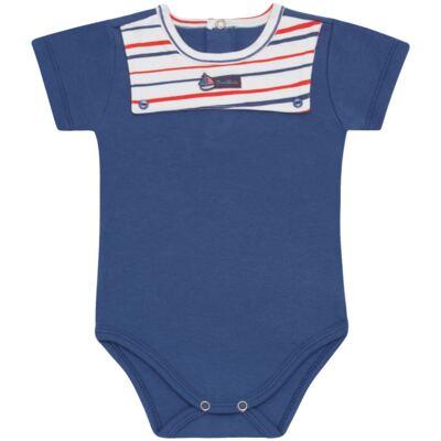 Imagem 1 do produto Body curto para bebe c/pala em Pima Cotton Supreme Sailor Boy - Mini & Kids - BCAF540 BODY MC COM ABER.FRONTAL SUEDINE-P