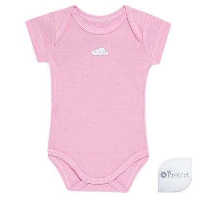 Imagem 1 do produto Body curto para bebe em suedine Baby Protect Rosa - Mini & Kids - BDTC1734 BODY M/C TRANSP. SUEDINE ROSA-G