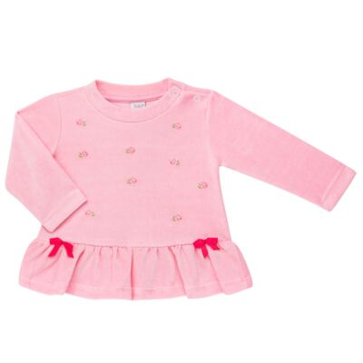 Imagem 2 do produto Bata com Calça para bebe em plush Little Roses - Baby Classic - 976881.218 CONJUNTO BATA COM CALÇA - PLUSH ROSA-P