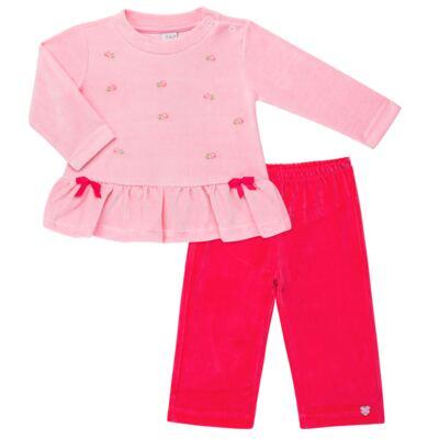 Imagem 1 do produto Bata com Calça para bebe em plush Little Roses - Baby Classic - 976881.218 CONJUNTO BATA COM CALÇA - PLUSH ROSA-2