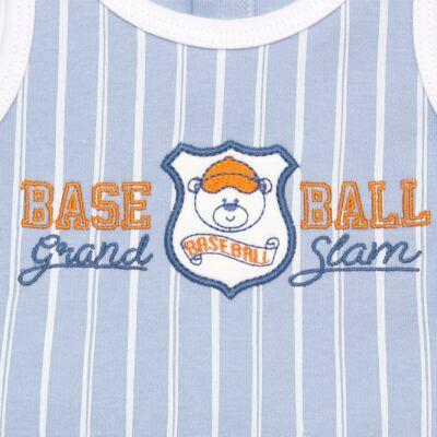 Imagem 2 do produto Banho de sol para bebe em suedine Baseball Cup - Vicky Lipe - 906767 BANHO DE SOL REGATA SUEDINE BASEBALL 2-GG