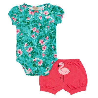 Imagem 1 do produto Body curto com shorts para bebe em cotton Flamingo Tropical - Pingo Lelê - PL65892 BODY CURTO C/SHORT COTTON GOIABA VERDE FLORAL-M