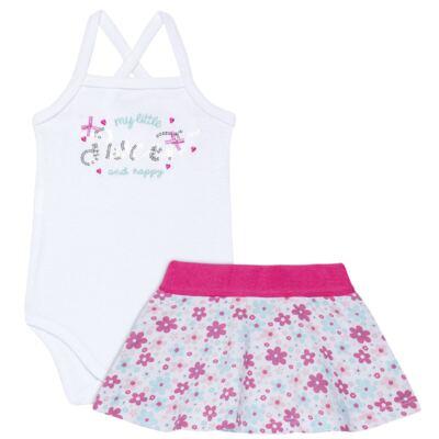 Imagem 1 do produto Body com Saia para bebe em malha Little Cute - Vicky Lipe - 23991362 BODY C/ SAIA MALHA ELEFANTINHO-P