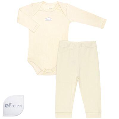 Imagem 1 do produto Body longo com Calça em suedine Baby Protect Amarelo - Mini & Kids - CJBM1736 CONJ. BODY ML TRANSP. MIJÃO SUEDINE AMARELO-M