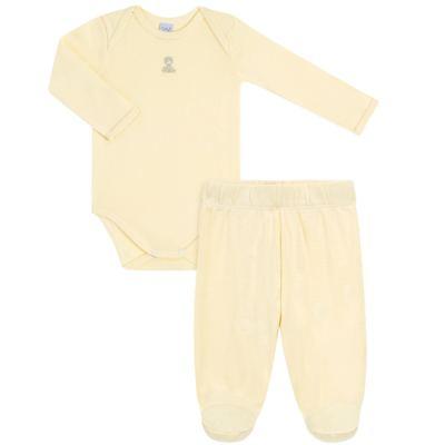 Imagem 1 do produto Body longo com Calça para bebe em suedine Amarelo - Vicky Lipe - 1822071.170 BODY M/L TRANSP MIJÃO SUEDINE HC AMARELO-RN