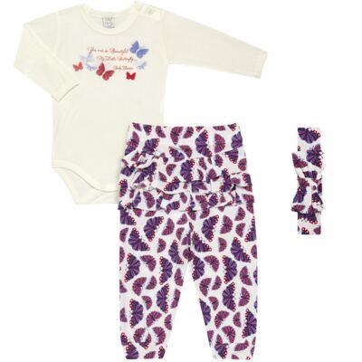 Imagem 1 do produto Body c/ Calça frufru e Faixa para bebe em viscolycra Butterflies - Baby Classic - 1621628 BODY COM MIJÃO COM FRU FRU VISCOLYCRA BUTTERFLY-M