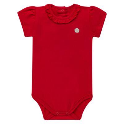 Imagem 1 do produto Body gola frufru para bebe em cotton Vermelho - Baby Classic - 02040001.05 BODY M/C C/ FRUFRU N GOLA COTTON VERMELHO-G