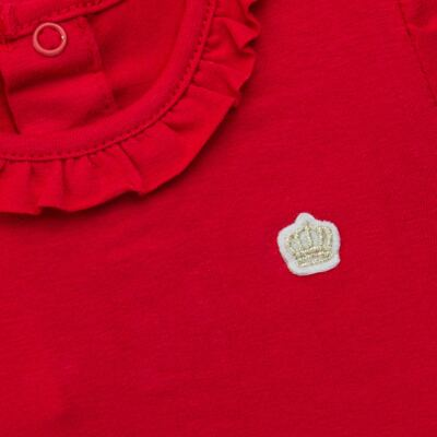 Imagem 2 do produto Body gola frufru para bebe em cotton Vermelho - Baby Classic - 02040001.05 BODY M/C C/ FRUFRU N GOLA COTTON VERMELHO-G