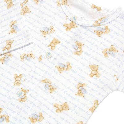 Imagem 4 do produto Body longo + Calça (mijão) + Babador + Touca em algodão egípcio com jato de cerâmica e filtro solar FPS 50 Maternity Blue Bear - Mini & Kids - BMBT1656 CONJ. BODY MIJAO BAB/TOUCA SUEDINE URSO MENINO-M