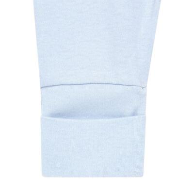 Imagem 6 do produto Body longo + Calça (mijão) + Babador + Touca em algodão egípcio com jato de cerâmica e filtro solar FPS 50 Maternity Blue Bear - Mini & Kids - BMBT1656 CONJ. BODY MIJAO BAB/TOUCA SUEDINE URSO MENINO-M