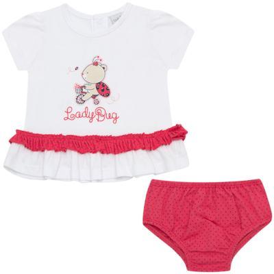 Imagem 1 do produto Bata com Calcinha para bebe em cotton Ladybug - Vicky Lipe - 831562 CONJUNTO BATA C/ CALCINHA COTTON URSA-G