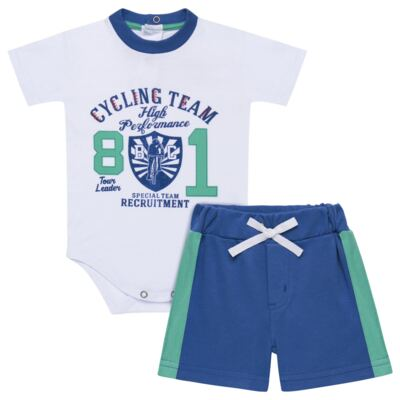 Imagem 1 do produto Body com Shorts em suedine Burnett- Baby Classic - 22441415 BODY MC C/ BERMUDA SUEDINE BICYCLE -G