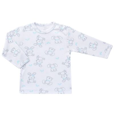 Imagem 2 do produto Blusa c/ Calça para bebe em algodão canelado Rabbit - Dedeka - DDK0860/E104 Conjunto Caneldo Estampado Coelho-GG
